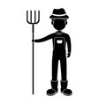 farmer with rake avatar character icon vector image