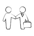 figure businessmen with suit and briefcase vector image