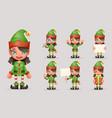 girl cute elf christmas santa teen icons new year vector image vector image