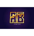 gold golden alphabet letter ab a b logo vector image