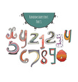 Hand-drawn capital letters from X to Z and digits vector image vector image