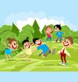 happy children on a walk vector image vector image