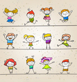 happy kids hand drawing cartoon character vector image vector image
