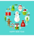 Happy New Year Flat Concept vector image vector image