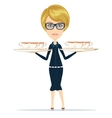 Happy Smiling Female Chief Cook Waiter vector image
