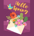 hello spring greeting card design with flowers vector image vector image