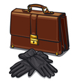 leather briefcase and gloves vector image