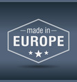 made in europe hexagonal white vintage label vector image vector image