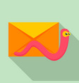 mail virus worm icon flat style vector image