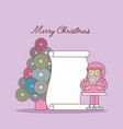 merry christmas santa claus tree and list gifts vector image