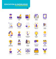 Modern material flat design icons - education and