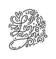 monoline calligraphy phrase love you vector image vector image