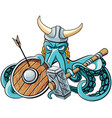 octopus the viking vector image vector image