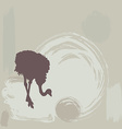 Ostrich silhouette on grunge background vector image vector image