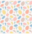 pattern with paper tulips eggs vector image