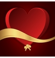 Red heart with a gold bow and gold strip vector image vector image