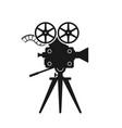 Retro movie camera black silhouette on white