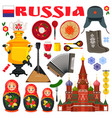 russia famous items icons vector image