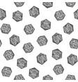 seamless hand-drawn monochrome d20 pattern vector image
