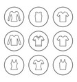 set round line icons t-shirt vector image vector image
