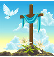silhouette of wooden cross with shroud dove and vector image vector image