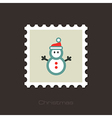 Snowman flat stamp vector image vector image