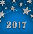 Starry Silver Background for Happy New Year 2017 vector image