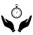 Stopwatch in hand icon vector image vector image