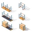 Storage racks for pallets presented in various vector image vector image