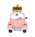 summer travel with cute retro car and suitcases vector image vector image
