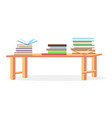 three heaps of literature lying on table closeup vector image vector image