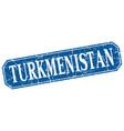 turkmenistan blue square grunge retro style sign vector image vector image