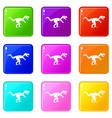 tyrannosaur dinosaur icons 9 set vector image vector image