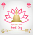 vesak day card pink lotus and gold buddha vector image vector image