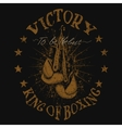 Vintage trademark with boxing gloves vector image
