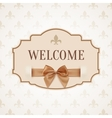 Welcome vintage retro banner with golden ribbon vector image vector image
