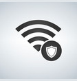 wifi connection signal icon with security shield vector image vector image
