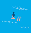 woman swimming in blue water vector image