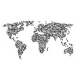 world map mosaic of rectange shape items vector image