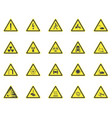 yellow warning hazard signs set vector image vector image