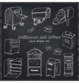 Doodle postbox set Vintage for vector image
