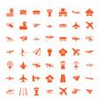 49 aircraft icons vector image vector image