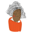 a curly brown girl or color vector image vector image