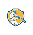 American Baseball Player Batting Shield Cartoon vector image vector image