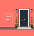 apartment building with door front with doorstep vector image
