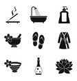 aroma oil icons set simple style vector image vector image