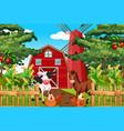 beautiful nature farm landscape vector image vector image