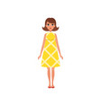 beautiful young woma nwith dark hair in yellow vector image