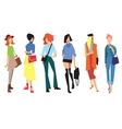 Beautiful young women in fashion clothing vector image vector image