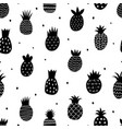 black pineapple pattern doodle abstract vector image vector image